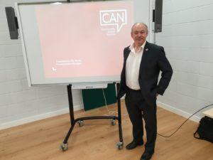 Rik Martin with his whiteboard presentation